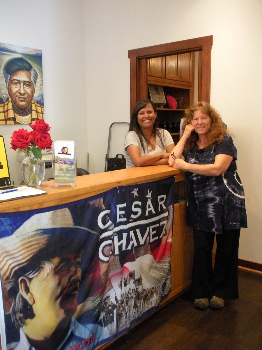 Anne with the daughter of Caesar Chavez