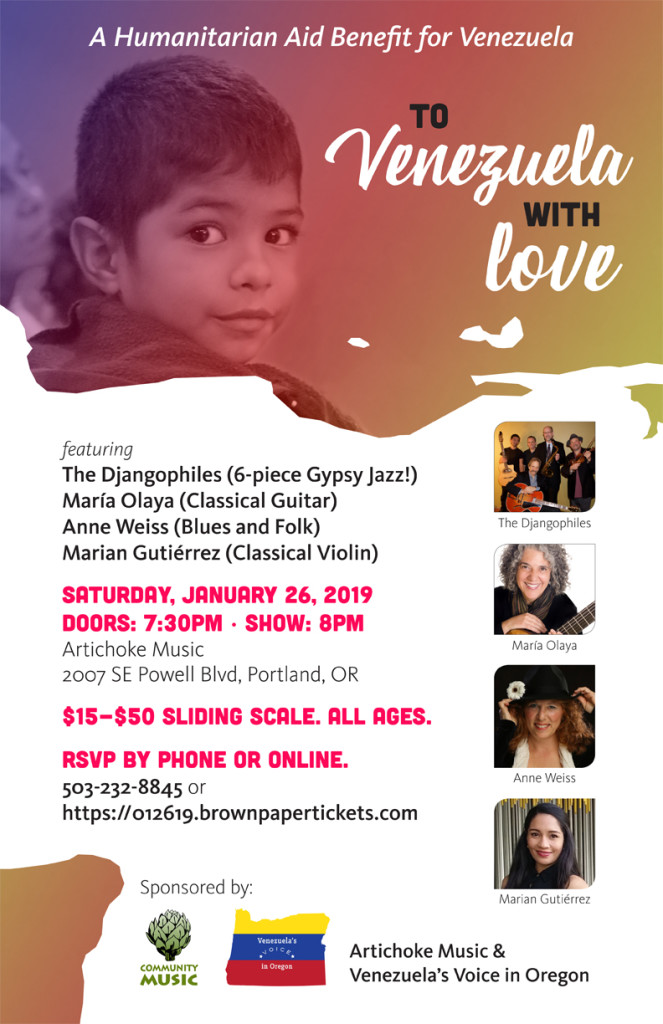 Humanitarian Benefit - To Venezuela with Love - Anne Weiess, Djangophiles, Maria Olaya, Marian Gutierrez - at Artichoke Music, Portland OR
