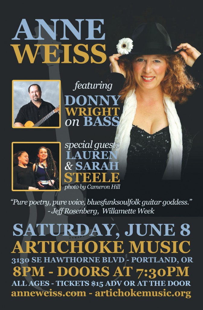 Anne Weiss June 8 with Donny Wright and Lauren & Sarah Steele